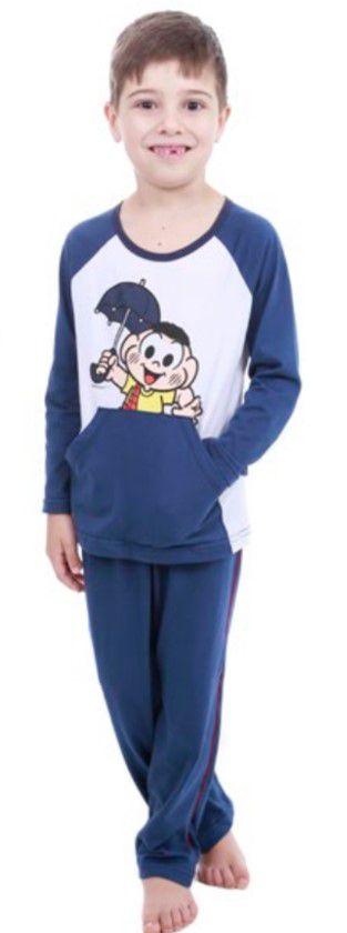 Pijama do Cascão - Turma da Mônica - Azul Marinho e Branco 8 e343937fd