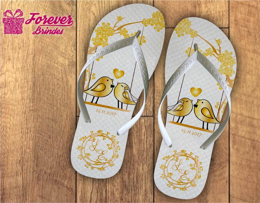 Chinelo casamento pássaros dourados - FOREVER BRINDES b4096428e4f
