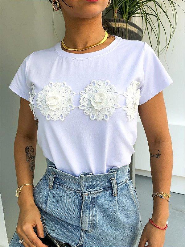 T-shirt Flor renda Guipir