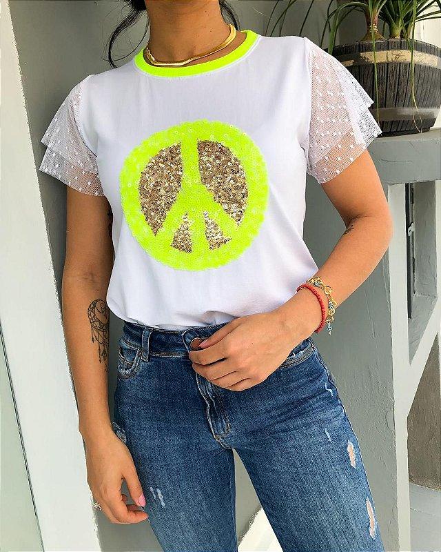 T-shirt Paz Paetê