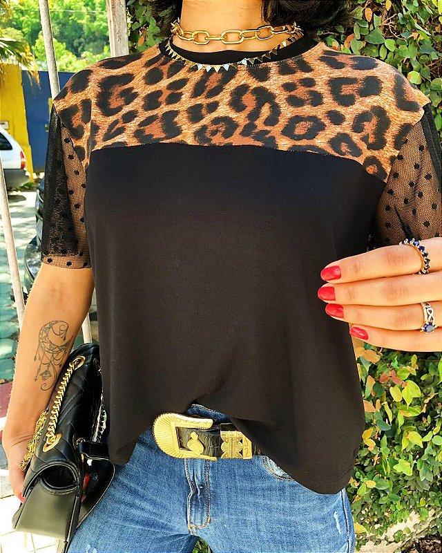 T-shirt Animal Print Com Mangas de tule