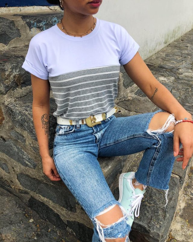 T-shirt com Listras cinza Mescla