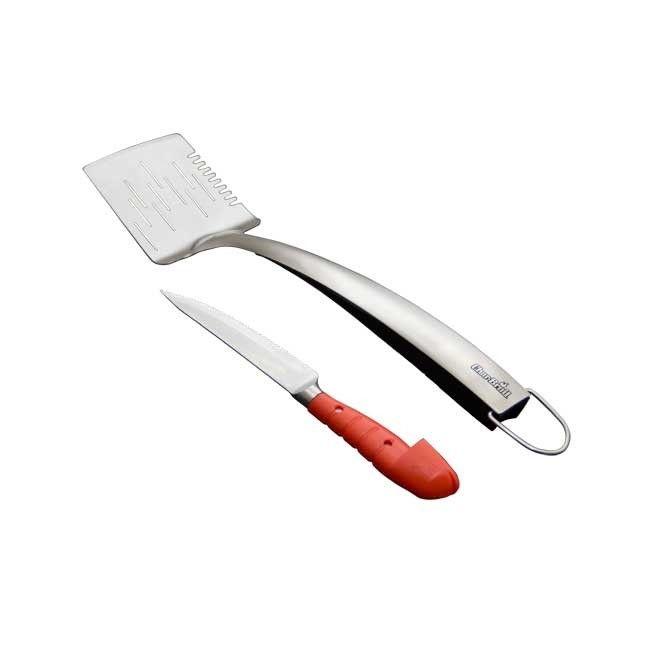 Espátula para churrasco  em aço inox com faca embutida no cabo