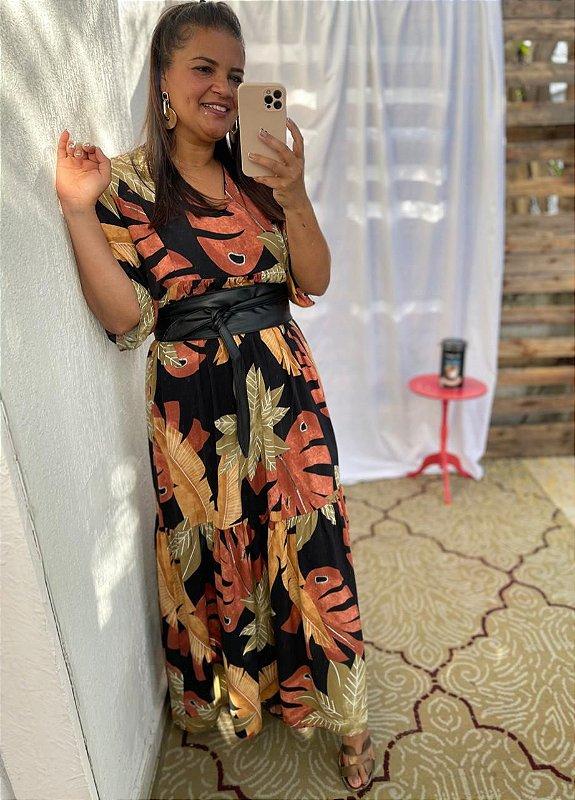 Vestido Eloá longo folhas ( Modelagem Ampla que veste do 44 ao 50 )