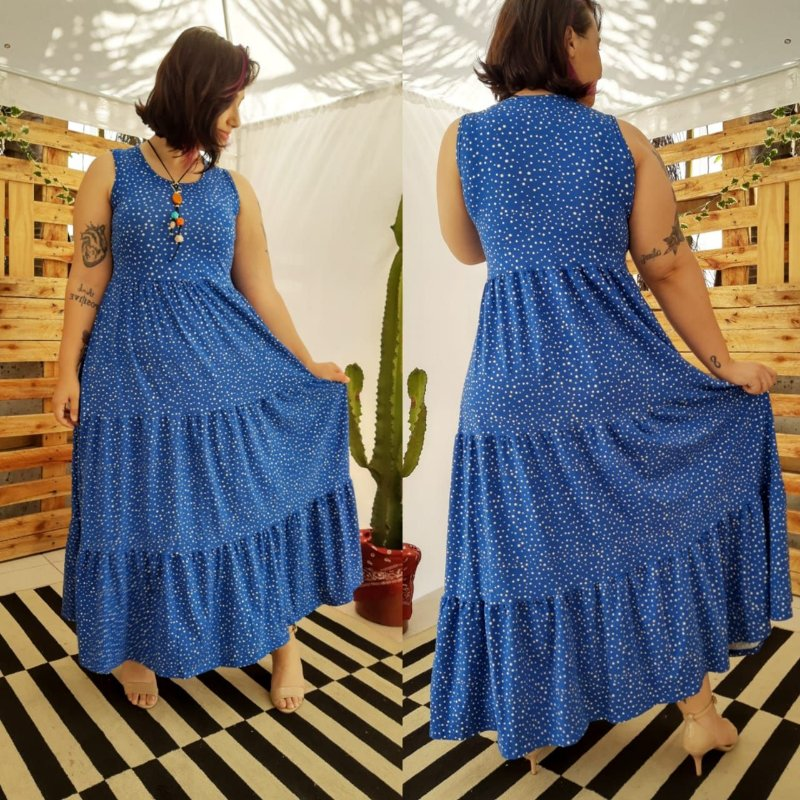 VESTIDO FÁBIA ( Tamanho único que veste do 36 ao 48 ) Azul