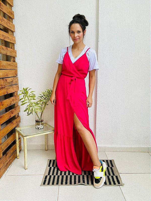 Vestido Helena Cor Pink ( Tamanho Amplo que veste do 38 ao 42 )