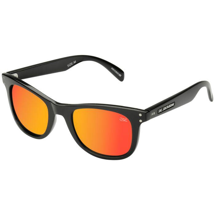 Óculos de Sol Jackdaw 12 Preto Brilho com Lentes Vermelho Espelhado