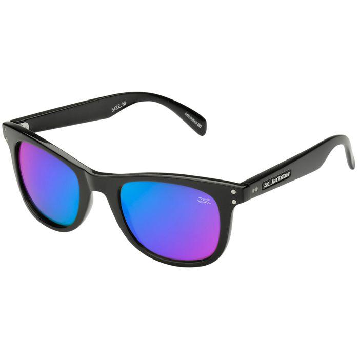 Óculos de Sol Jackdaw 13 Preto Brilho com Lentes Azul Espelhado