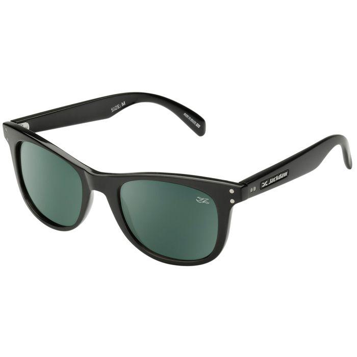 Óculos de Sol Jackdaw 14 Preto Brilho com Lentes Cinza Esverdeado