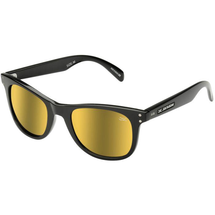 Óculos de Sol Jackdaw 15 Preto Brilho com Lentes Dourado Espelhado