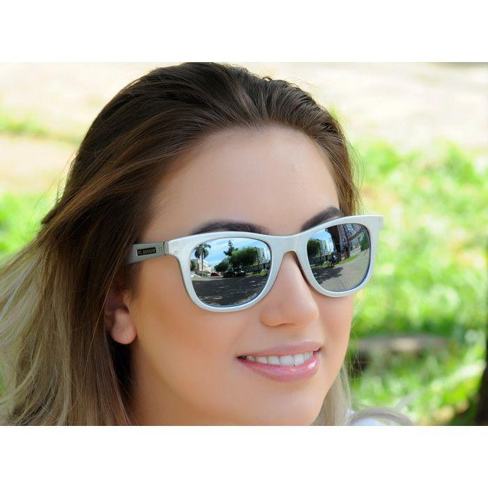 Óculos de Sol Jackdaw 23 Prata Brilho com Lentes Cinza Semi-Espelhado