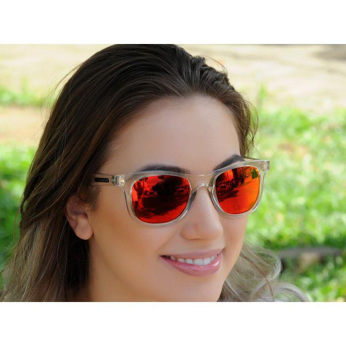Óculos de Sol Jackdaw 29 Transparente com Lentes Vermelho Espelhado