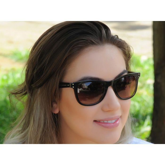 Óculos de Sol Jackdaw 33 Preto Brilho e Dourado com Lentes Marrom Degradê