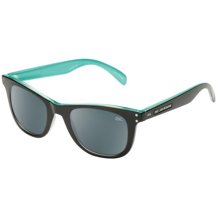Óculos de Sol Polarizado Jackdaw 41 Preto e Azul Tiffany Brilho com Lentes Cinza