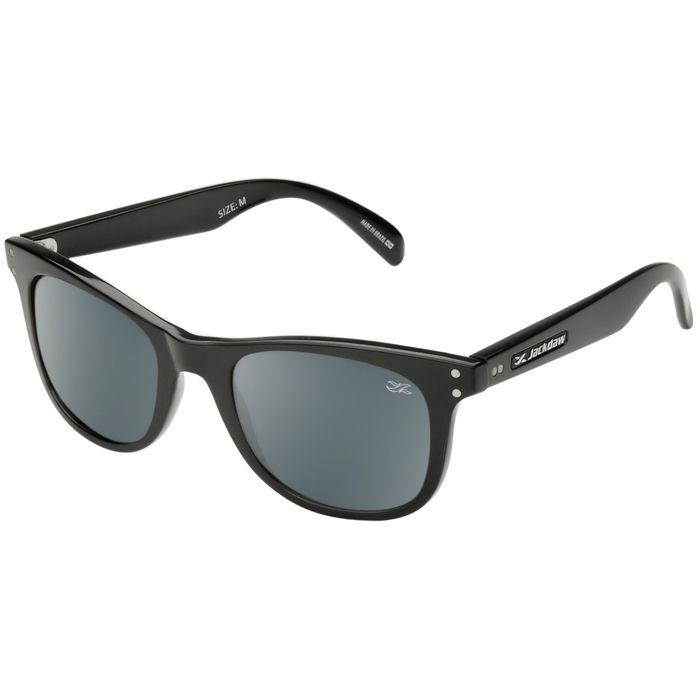 Óculos de Sol Polarizado Jackdaw 50 Preto Brilho com Lentes Cinza
