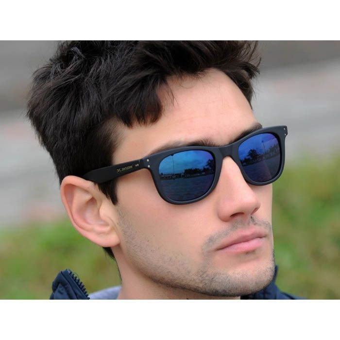 Óculos de Sol Espelhado Jackdaw 52 Preto Fosco com Lentes Azul Chrome