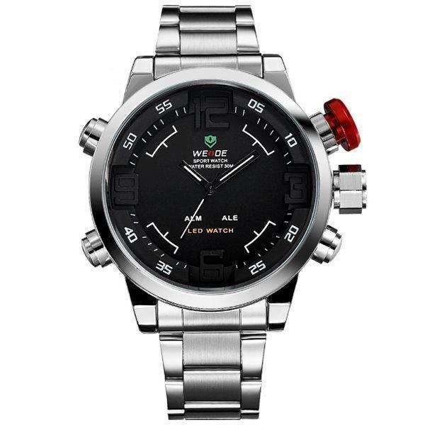 Relógio Masculino Weide AnaDigi Casual WH-2309 Prata e Vermelho ... 3fc061c6fb7bd