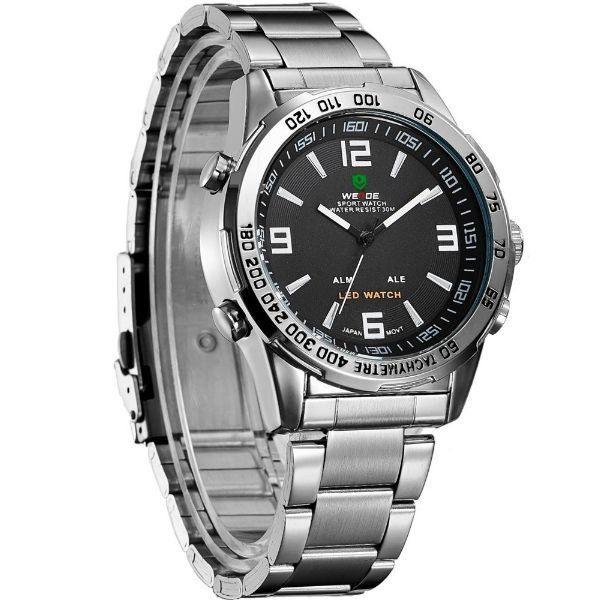 Relógio Masculino Weide Anadigi WH-1009 Prata e Preto - ShopDesconto ... cc6b20aee3363