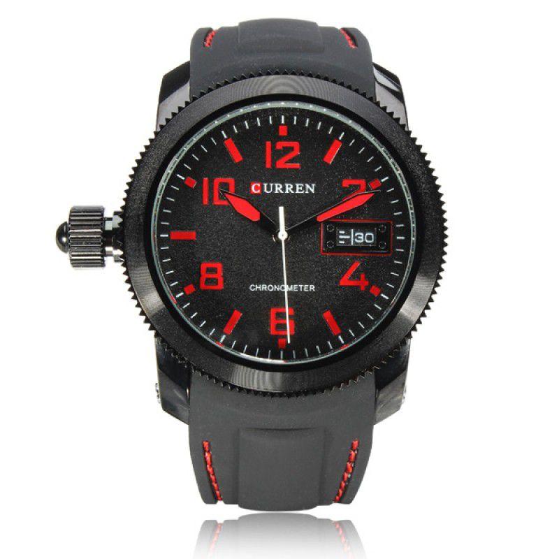 9ae19fe9c0e Relógio Masculino Curren Analógico 8173 (DATA ILUSTRATIVO) Preto e Vermelho