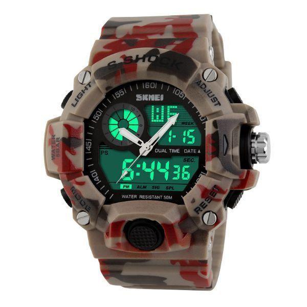 13e1a64740c Relógio Masculino Skmei Anadigi 1029 Marrom e Vermelho ...