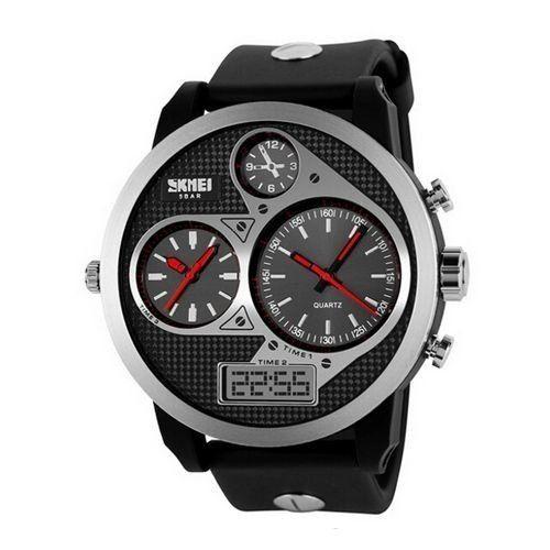 3fe76bf46d4 Relógio Masculino Skmei Anadigi 1033 Preto e Vermelho - ShopDesconto ...