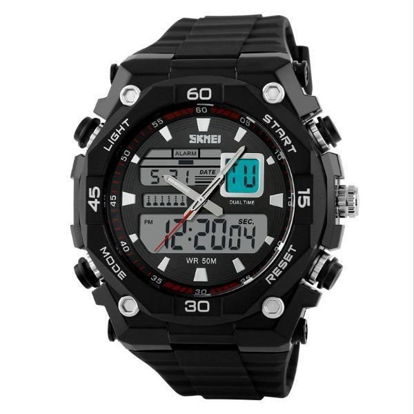 67ed1235e46 Relógio Masculino Skmei Anadigi 1092 Preto e Prata - ShopDesconto ...