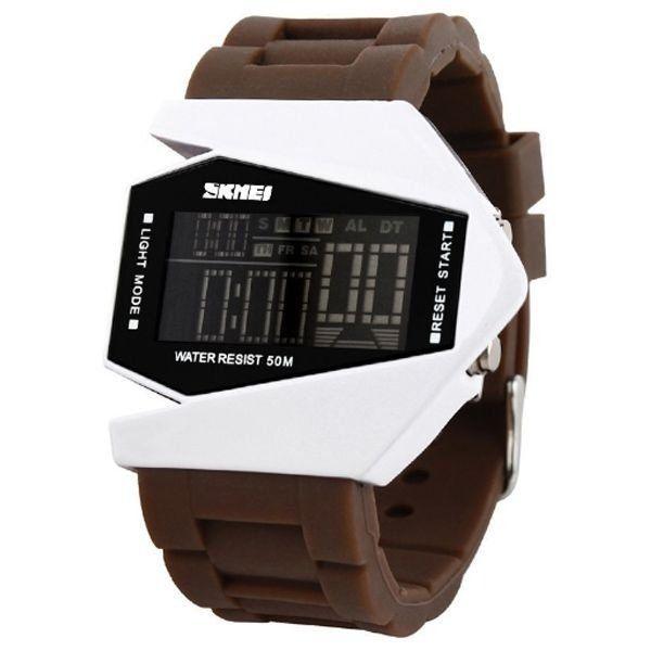 e456adc1e04 Relógio Masculino Skmei Digital 0817 Marrom e Branco - ShopDesconto ...