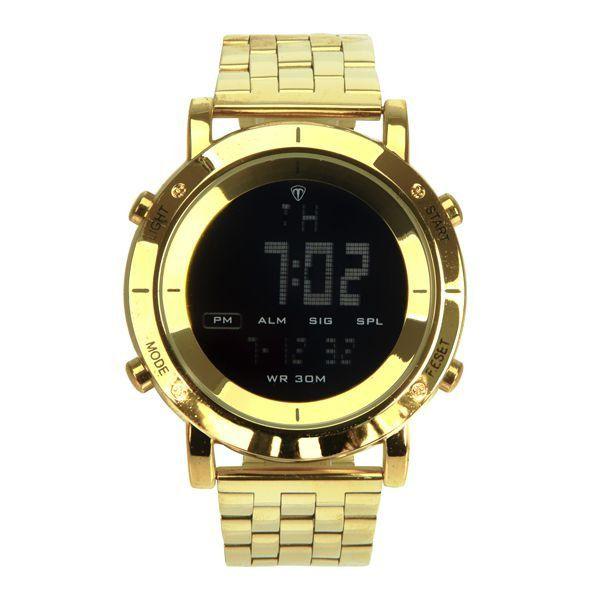 f2e04410481 Relógio Masculino Tuguir Metal Digital TG6017 Dourado e Preto ...