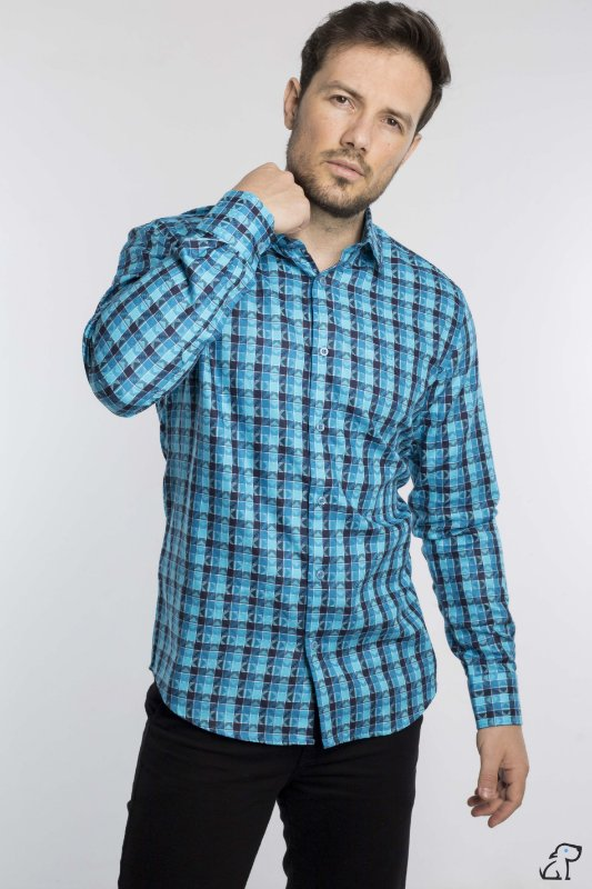 Camisa Slim Jacquard Fio 80 Manga Longa