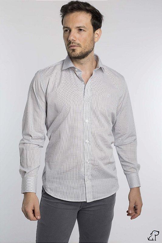 Camisa Slim Mini Quadriculado Manga Longa