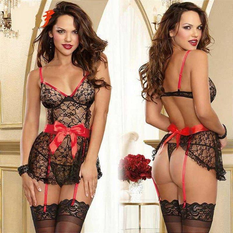 Camisola De Renda Preta e Vermelha Sexy Sensual