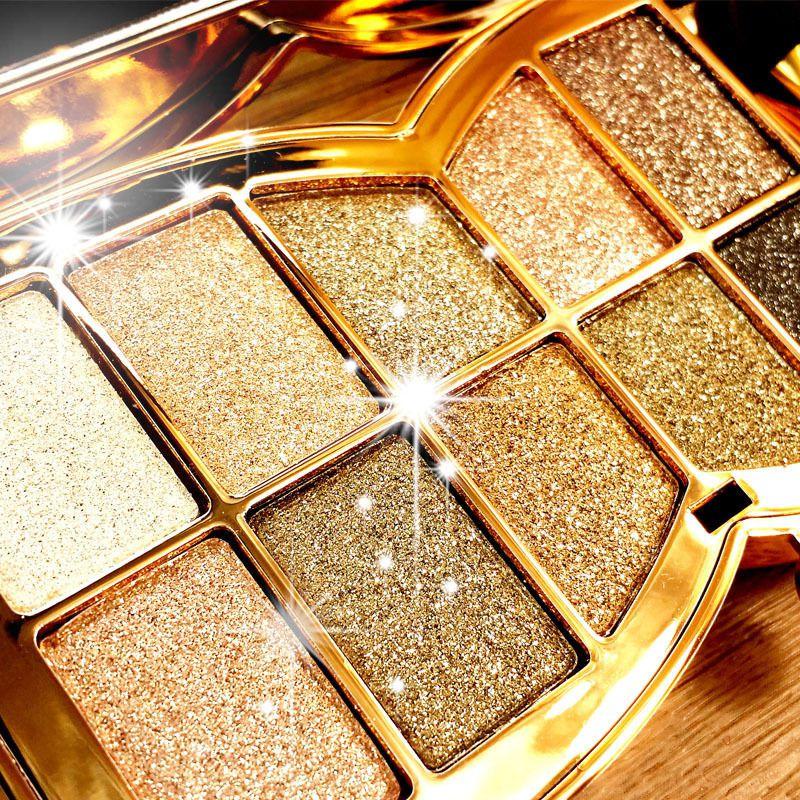 Paleta Dourada de Sombras com 10 cores Metálicas Bem Pigmentadas