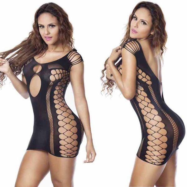 Lingerie Vestido Sexy entrelaçado estilo Arrastão