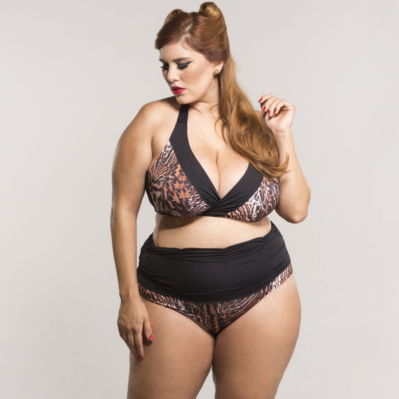 Top Transpassado animal print Plus Size