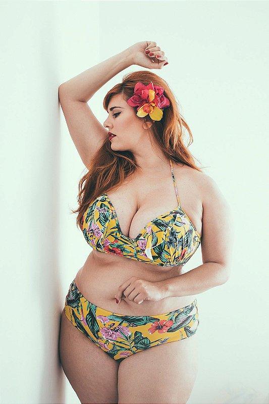 Sunkini Plus Size - Folhagem Amarelo