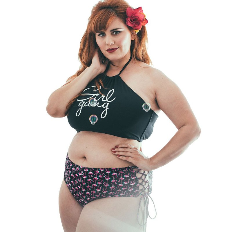 Top Biquíni Plus Size Preto Girl Gang