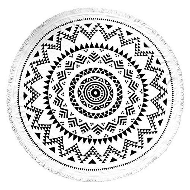 Toalha Canga Redonda - Mandala Preta
