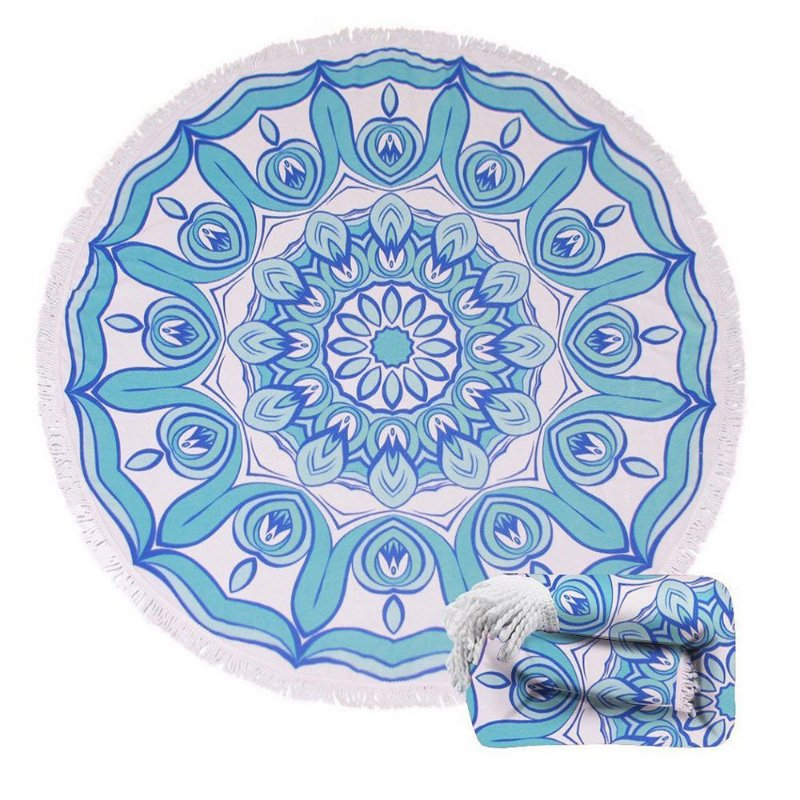 Toalha Canga Redonda - Mandala Azul