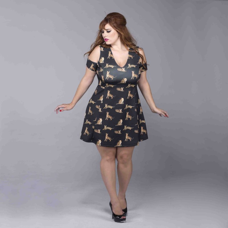 Vestido Estampado Plus Size - Cats Night