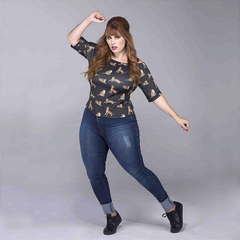 Calça Jeans Cós Alto Plus Size