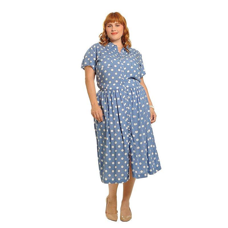 Vestido Plus Size Midi Manga Curta Azul