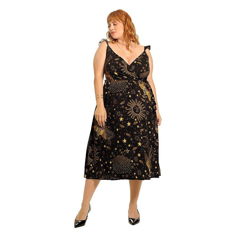 Vestido transpassado cosmic love preto