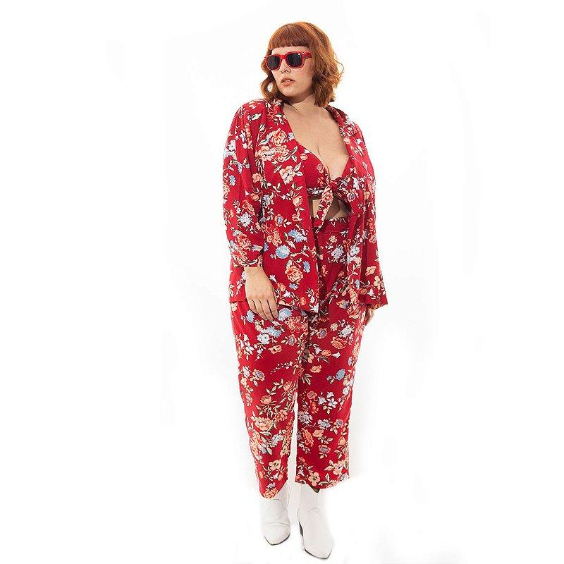 Blazer Floral Plus Size Vermelho