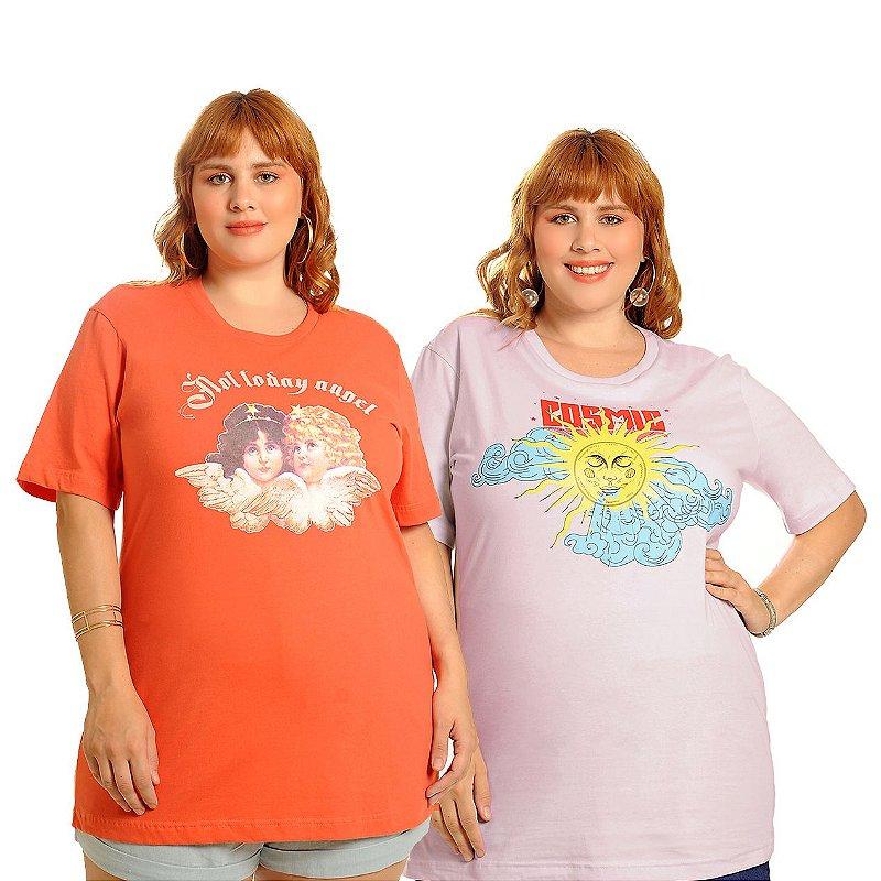 Kit com 2 camisetas plus size