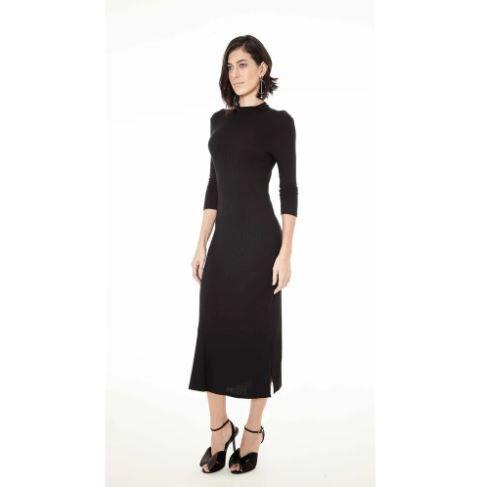 087783eaf Vestido Maria Valentina Preto Canelado - Sua loja de moda feminina ...