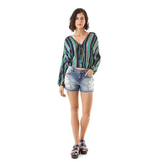 ab8f9a1fe Blusa Zinco Estampa Listras Amarracao - Sua loja de moda feminina na ...