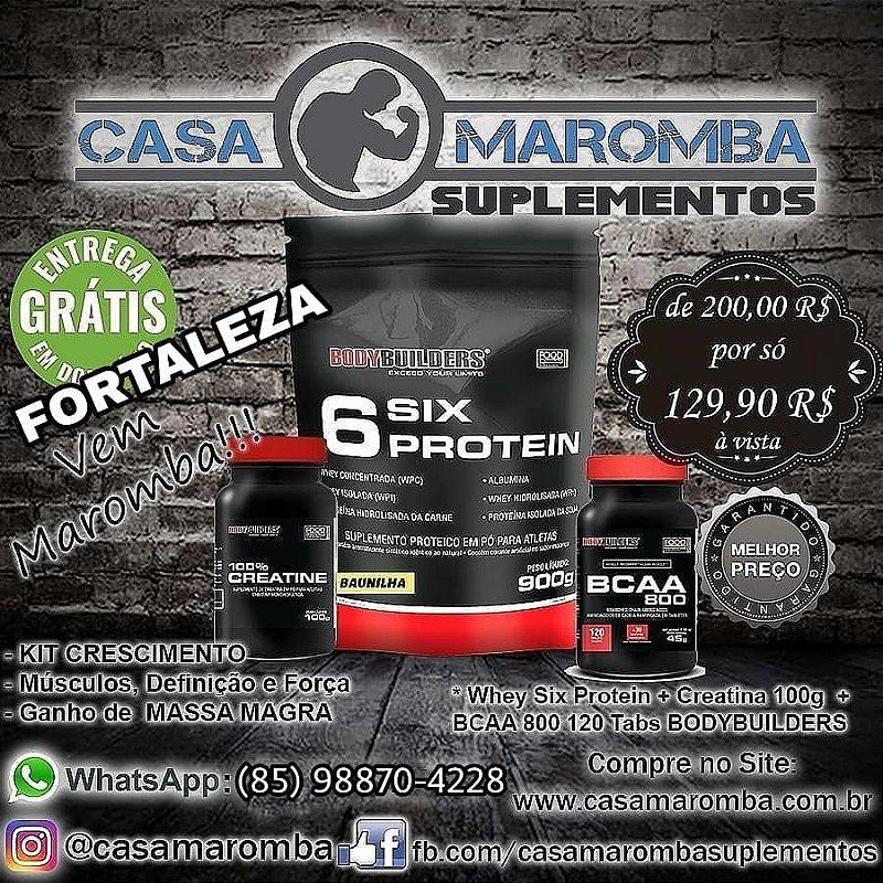 Kit Ganho de Musculos: 6 Six Protein 900g Baunilha + C* + BCAA 800 150 Tabs BodyBuilders