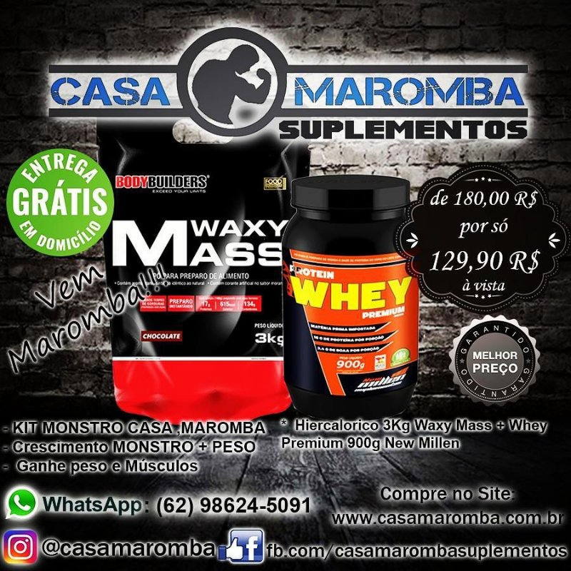 Kit Monstro: Hipercalórico Waxy Mass 3Kg Bodybuilders + Whey Premium 900g New Millen