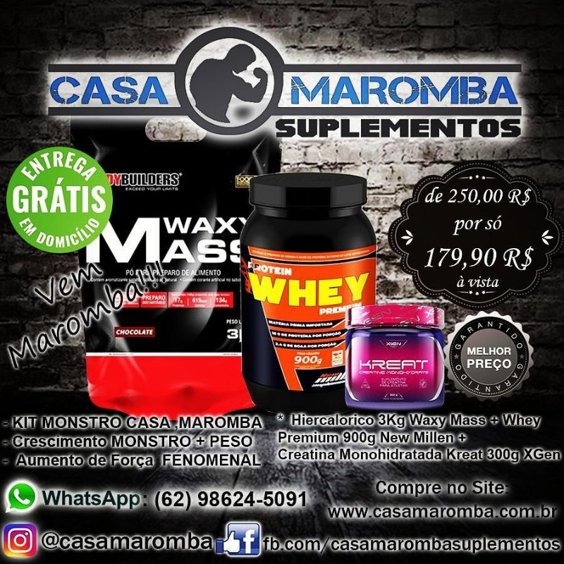 Kit Monstro: Hipercalórico Waxy Mass 3Kg Bodybuilders + Whey Premium 900g New Millen + Kreat 300g