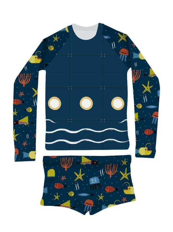 Camisa UV + Sunga - Fundo do mar